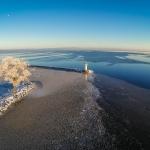 Aerial photo / flygfoto - Hjo hamn, Vättern