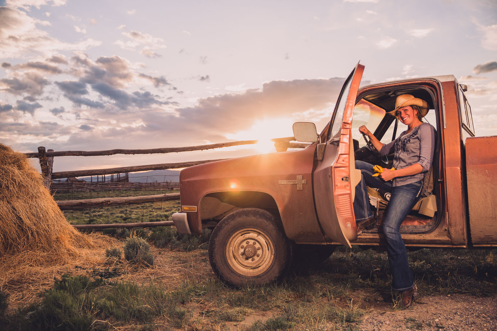 girl-pickup-ranch-sunset-montana