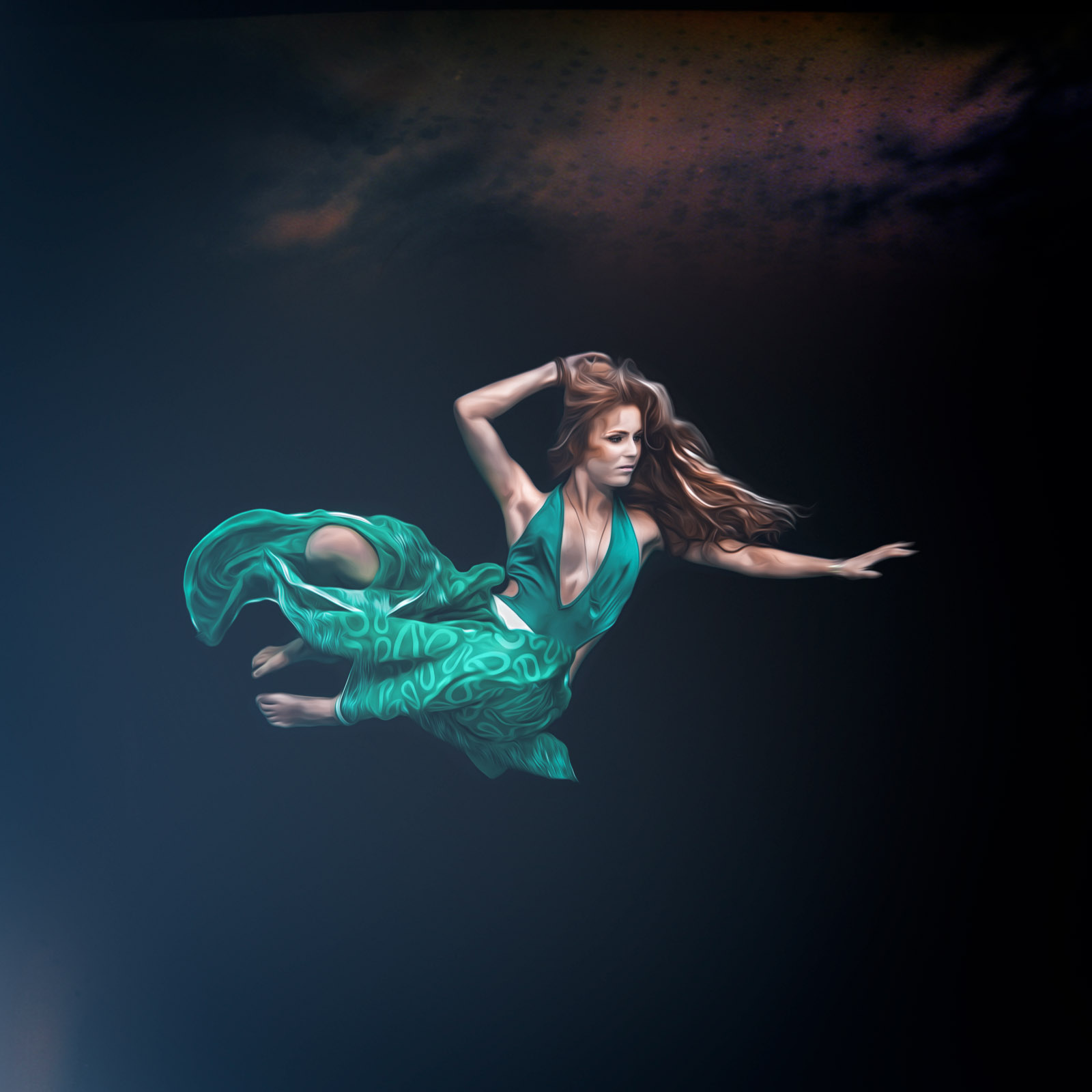 fine art, fine art photography, fine art photographer, portrait, porträtt, photographer, fotograf, underwater, underwater photo, undervattensfoto, dress, hair, cecilia kallin, anhede