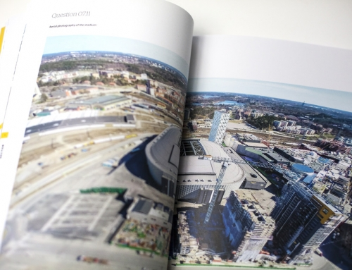 Aerial photographer, Friends Arena, Stockholm, Sweden