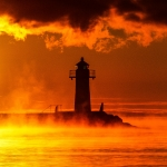Lighthouse in fog/mist, lake Vättern, Hjo, Sweden - Fyr i dimma, Sverige
