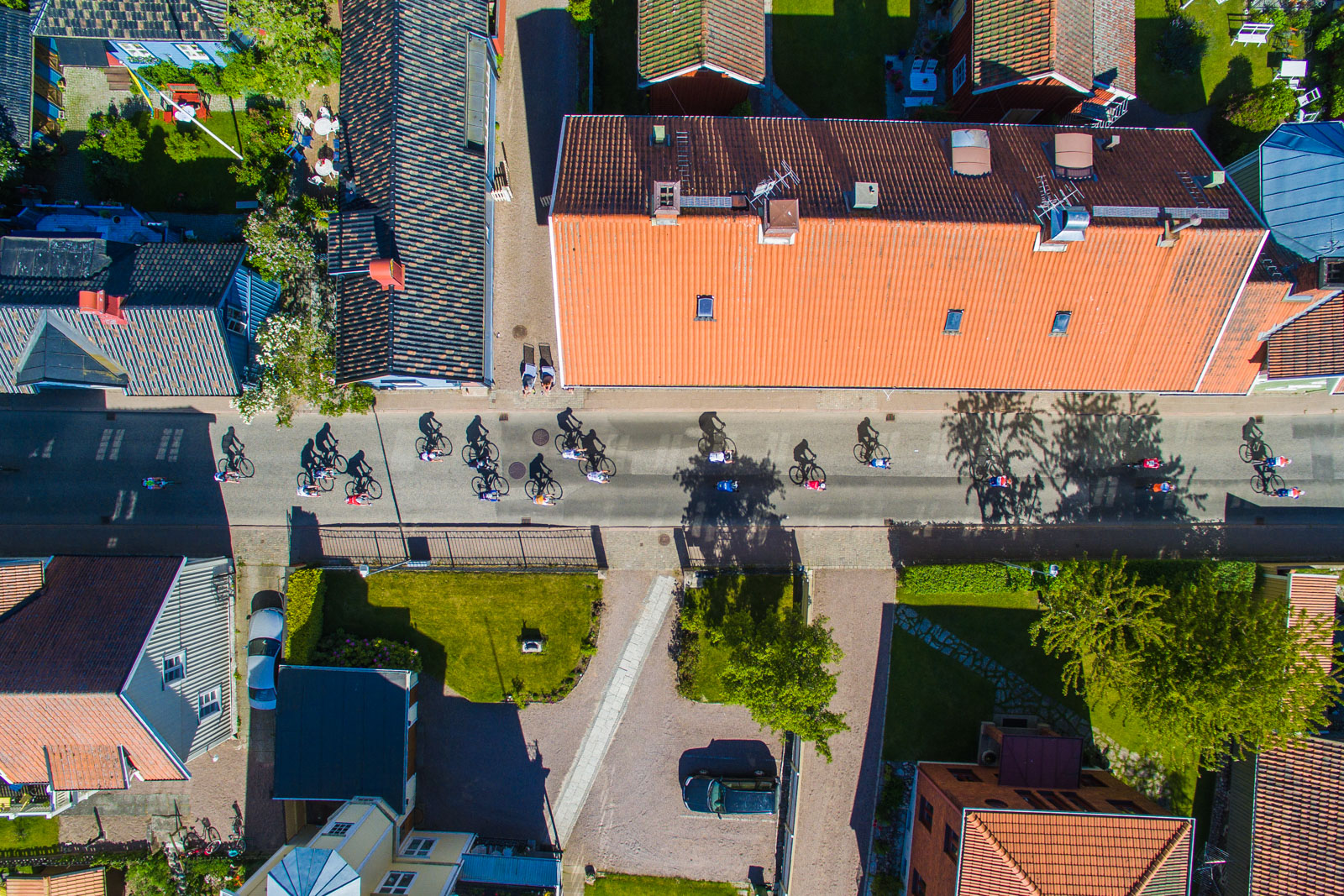drone aerial photo, vatternrundan, bicycle race, sweden