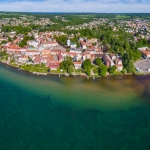 flygfoto, hjo, skaraborg västra götaland, turiststad, sverige