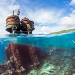 split surface award winning underwater photographer, cook islands, ss mai tai shipwreck