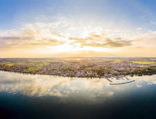 Flygfoto, panorama – Vättern, Hjo