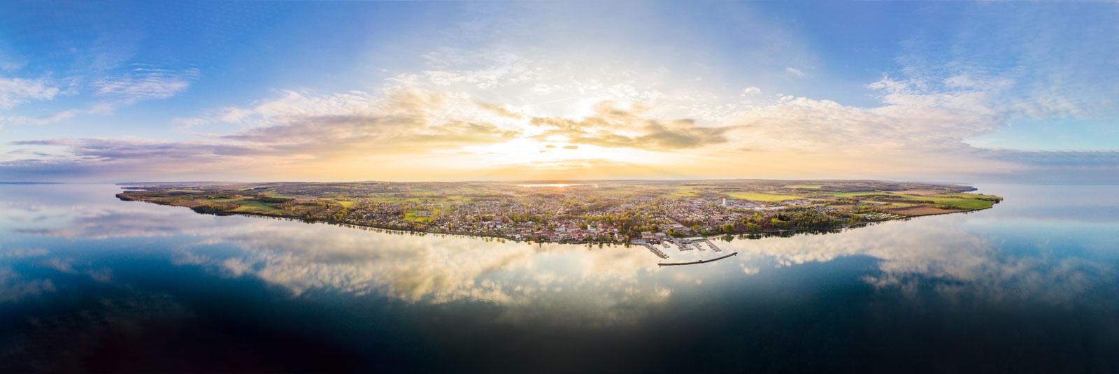 Aerial panorama xxl – Lake Vättern, Hjo, Sweden