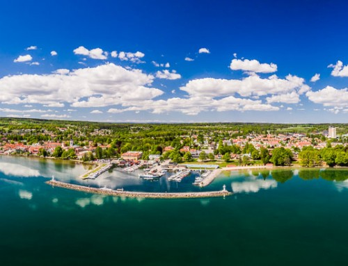 Gigapixel XXL panorama – Aerial photo over Hjo, Vättern, Sweden