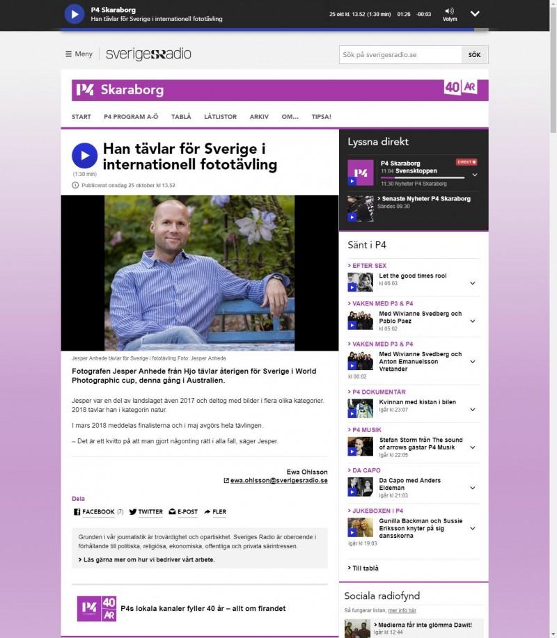 Han tävlar för Sverige i internationell fototävling - P4 Skaraborg - Sveriges Radio