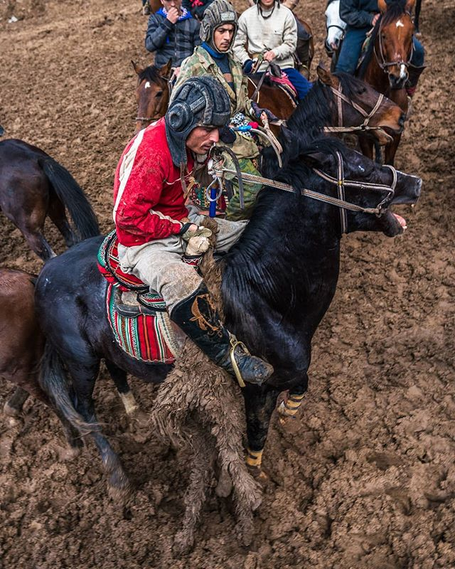 "Buzkashi (بزکشی, literally ""goat pulling"" in Persian) is a Central Asian sport in which horse-mounted players attempt to place a goat, calf or a lamb carcass in a goal. #buzkashi #carcass #horse #centralasia #tajikistan"