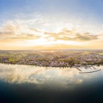 hjo-city-town-lake-sweden-aerial-panorama-sunset
