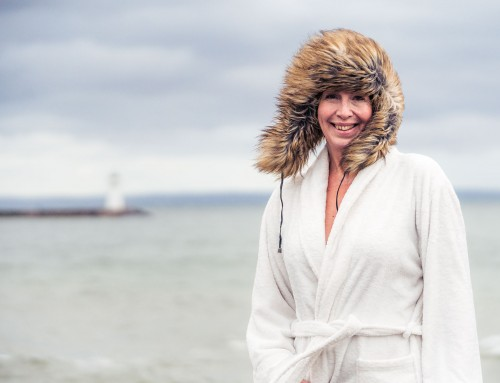 Swedish winter bathing portrait – Lake Vättern, Hjo munipicality